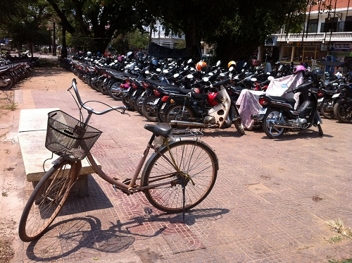 Old bike and scooters in Siem Reap Cambodia