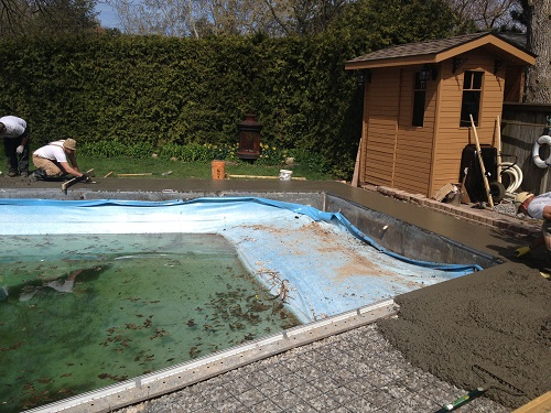 finishing a concrete pool deck