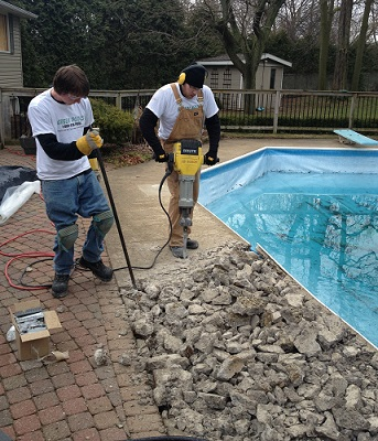 pool deck removal
