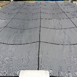 rectangle pool with diving   board safety cover installation progress pictures