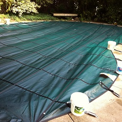 kidney pool safety cover install   progress pictures