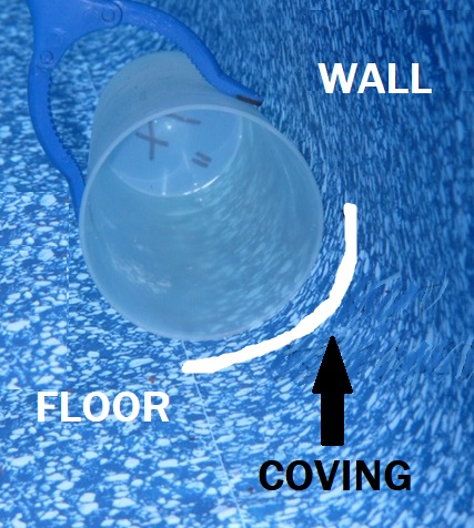 pool liner coving away from walls and floor