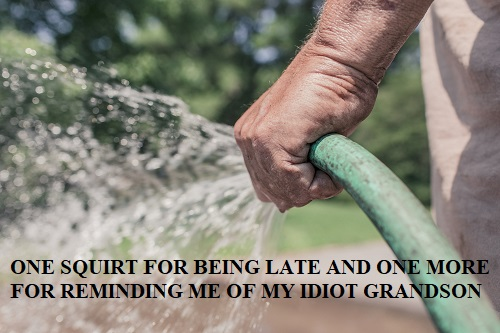 old lady spraying you with a hose